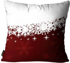 Almofada Premium Cetim Mdecore Natal Flocos de Neve Vermelha 45x45cm