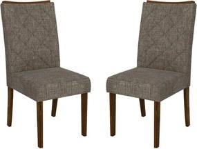 Kit 2 Cadeiras Bauen Estofada Linho Bronze / Rústico Malbec