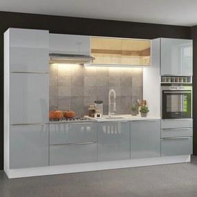 Cozinha Completa Madesa Lux com Armário e Balcão Branco/Cinza Cor:Branco/Cinza