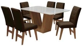 Conjunto Mesa de Jantar Safira com 06 Cadeiras Agata 160cm Cedro/Branco Off/Chocolate - ADJ DECOR