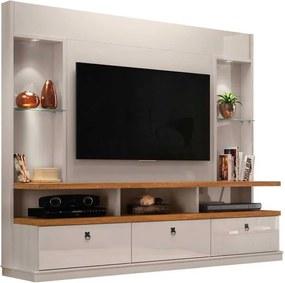 Estante Home Para Tv 55 Polegadas Dinamarca 2.2 Lukaliam Off White/amêndoa
