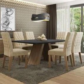 Conjunto Sala de Jantar Madesa Giovana Mesa Tampo de Madeira com 6 Cadeiras Rustic/Preto/Imperial Cor:Rustic/Preto/Imperial