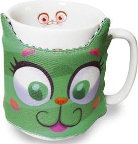 Caneca Tecido Gato Fofo Verde