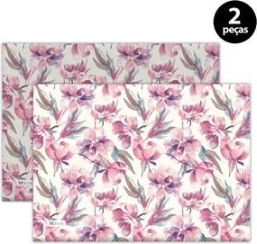 Jogo Americano Mdecore Floral 40x28 cm Rosa2pçs