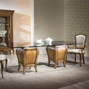 Mesa de Jantar Hillux Retangular Tampo de Vidro Base Madeira Maciça Design Clássico Avi Móveis