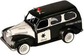 Miniatura Carro Highway Patrol Police Decorativo de Metal Preto e Branco