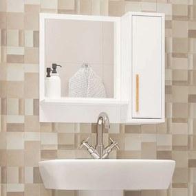 Armário Aéreo para Banheiro Multi com Espelho 60cm Branco