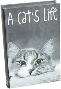 Book Box Cats Life Preto e Branco Em Madeira - Urban - 25x17 cm