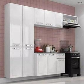 Cozinha Aço Branca Compacta C/ Tampo Armário Aéreo Gabinete Branca