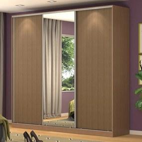 Guarda-Roupa Casal 3 Portas Correr 1 Espelho 100% Mdf Rc3001 Ocre- Nova Mobile