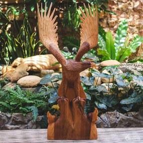 Escultura de Águia em Madeira Suar