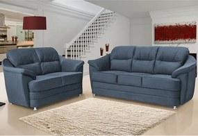 Conjunto De Sofá 3 E 2 Lugares Cama Inbox Nevada 1,95x1,45m Tecido Suede Velusoft Azul