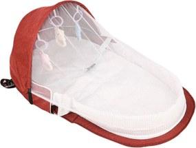 Berço Cama portátil Mommy Bag com brinquedos e mosquiteiro para bebê dormir dobrável Vermelho