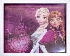 Porta retrato Minas de Presentes Quebra Cabeça Anna & Elsa Frozen 22X27cm - Disney Branco