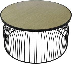 Mesa de Centro em Metal Preto com Madeira - 40x80cm