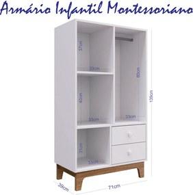 Armário Infantil Montessoriano 2 Gavetas C/ Cabideiro Branco Completa Móveis