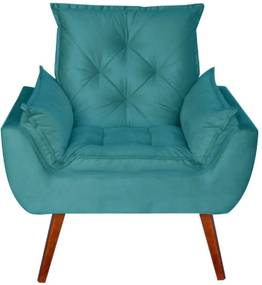 Poltrona Decorativa Kasa Sofá Opala Suede Azul
