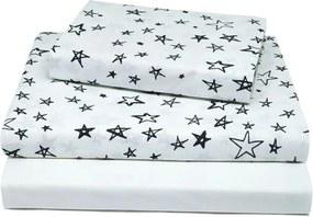 Jogo De Lençol Doudou Solteiro Estrelas Preto E Branco