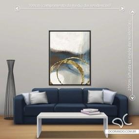Quadro Abstrato Marrom Due - Grande 140cm x 105cm, Tela + Moldura Preta