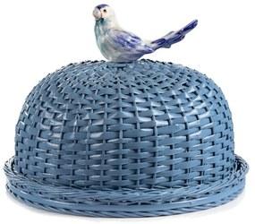Boleira em Vime c/ Pássaro - Azul Claro
