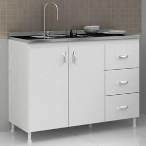 Balcão de Cozinha para Pia Sem Tampo 120 cm Cz601 Branco - Evidência Móveis