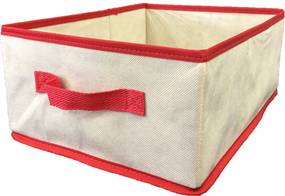 Caixa Organizadora com alça 28x15x38cm Organibox bege/vermelho