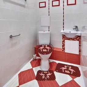 Jogo de Banheiro Natal Flamingo BordôÚnico