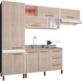 Cozinha Compacta Hibisco Branco e Bege Móveis Albatroz