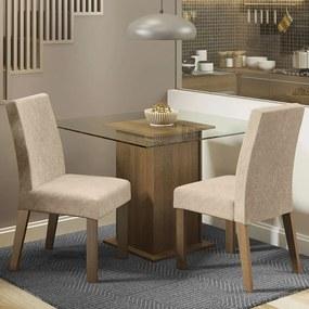 Conjunto Sala de Jantar Madesa Luli Mesa Tampo de Vidro com 2 Cadeiras Rustic/Imperial Cor:Rustic/Imperial