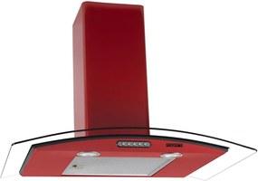 Coifa de Parede Vidro Curvo Duto Slim 75 cm 220v Vermelha - Fogatti