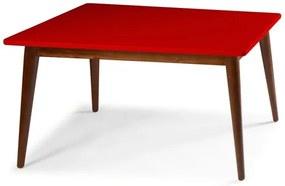 Mesa de Jantar Novitá com Tampo Vermelho Laqueado Fosco e Estrutura Madeira Maciça