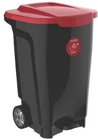 Lixeira com Rodas T-Force 100 Litros Preta com tampa Vermelha Tramontina 92815409