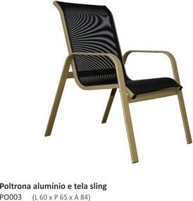Poltrona Lauren Alumínio e Sling L60cm x C65cm x A84cm