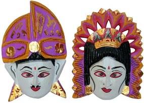 Máscara Casal Balinês Lilás e Marrom