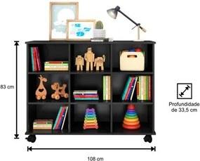 Nicho Organizador Multifuncional com Rodízios Toys Preto - Mpozenato