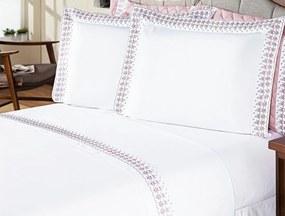 Jogo de Cama Versalhes Queen Branco e Rose Bordado Especial com 4 peças - Aquarela