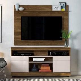 Rack Bancada Yara e Painel Para TV Maia Canela/Off White - HB Móveis
