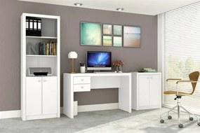 Conjunto Home Office CB01 com Escrivaninha, Armário Alto e Armário Baixo Casa da Mobília