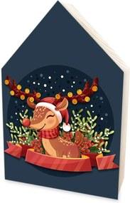 Totem Home de Madeira Natalino Rena de Natal Estilo Infantil Único