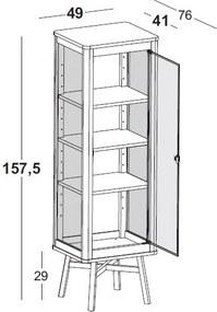 Cristaleira Mali com 1 Porta - 3 Prateleiras internas