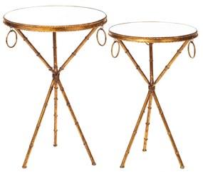 Jogo de Mesas de Apoio Bambu Dourado - Redondo  Redondo