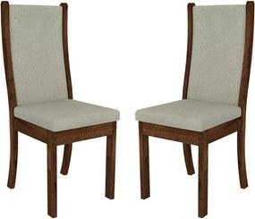Kit 2 Cadeiras Nerus Estofada Pena Bege / Rústico Malbec