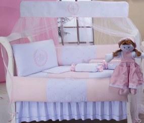 Kit de Berço Glamour 10 Peças 100% Algodão - Realeza Rosa