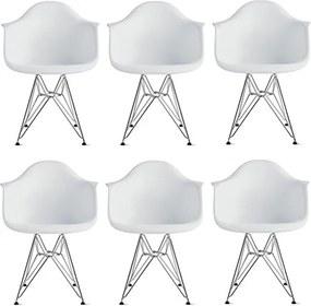 Conjunto 6 Cadeiras Eiffel Eames DAR Branca