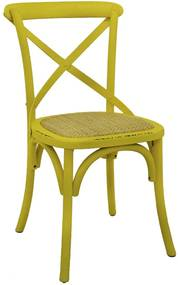 Cadeira Decorativa Sala de Jantar Cozinha Danna Rattan Natural Amarela- Gran Belo