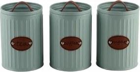 Conjunto de Porta Mantimentos em Metal e Couro Azul Claro