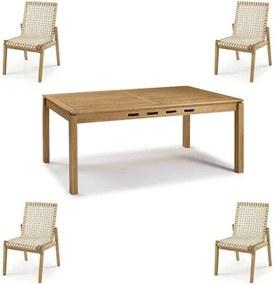 Conjunto Trama Mesa 220cm + Cadeiras Corda Areia - 60501 Sun House