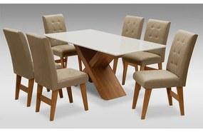 Conjunto Mesa de Jantar com 06 cadeiras Agata 180cm Cedro/Branco Off/Mascavo - ADJ DECOR