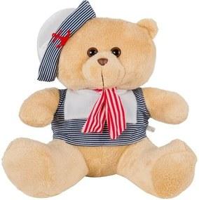 Urso Soft Mini Marinheiro Marinho e Vermelho com Chapéu Âncora