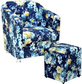 Poltrona Decorativa Lyam Decor com Puff Laura Estampado Azul